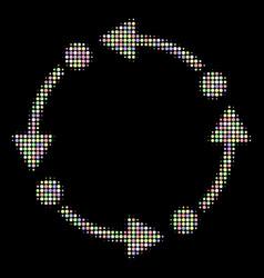 Rotate halftone mosaic of circles vector