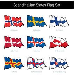 scandinavian states waving flag set vector image