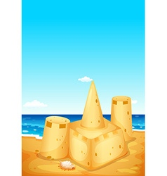 Scene with sandcastle on the beach vector