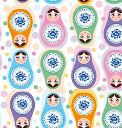 Seamless pattern Russian dolls Blue green purple vector image