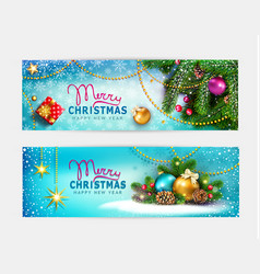 set for merry christmas and happy vector image
