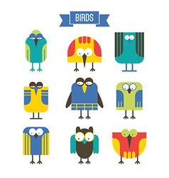 Set of cartoon bird vector image