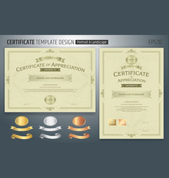 set of certificate of appreciation template with vector image