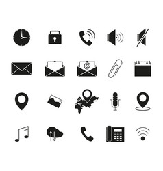 Set of interface line b lack icons vector