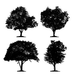 silhouette icon tree set vector image