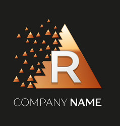 Silver letter r logo symbol in the triangle shape vector