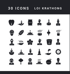 simple icons loi krathong vector image