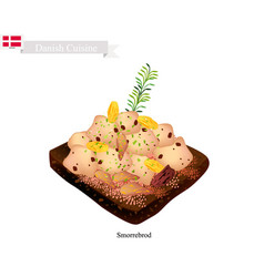 Smorrebrod with roast chicken national dish o vector