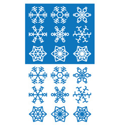 snowflakes icons on white and blue background vector image