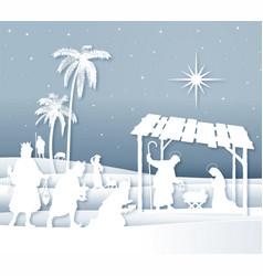 Soft shadows white silhouette christmas nativity vector