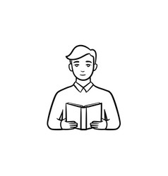student reading a book hand drawn sketch icon vector image