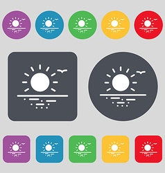 Sunset icon sign a set of 12 colored buttons flat vector