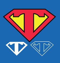 Superhero logo icon with letter t ou vector