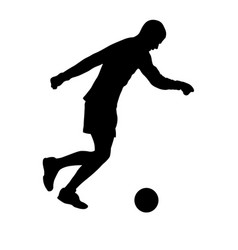 teenager kicker hits the ball silhouette vector image