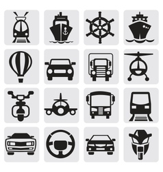 transport icons set vector image vector image