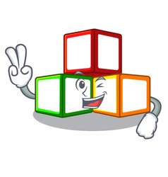 Two finger toy blocks cube blank cartoon wooden vector