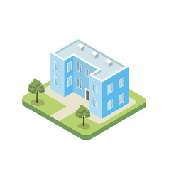 Two floor building isometric 3d icon vector