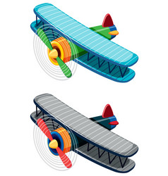 Two old-fashioned airplanes on white background vector