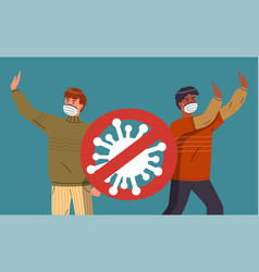Two young mix race men wearing medical mask vector