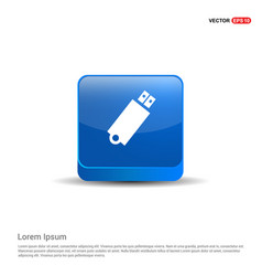 usb icon - 3d blue button vector image