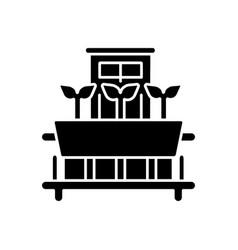 Windowsill gardening black glyph icon vector