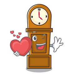 With heart grandfather clock mascot cartoon vector