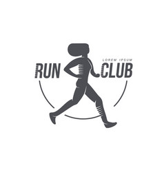 Woman running jogging club icon isolated vector