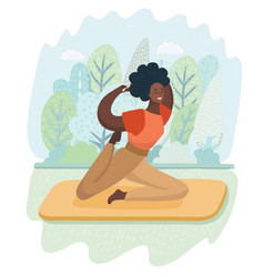 Young black woman is practicing yoga outdoor vector