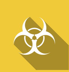 biohazard symbol flat icon with long shadow vector image vector image