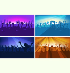 human silhouettes in massive crowd with raised vector image vector image
