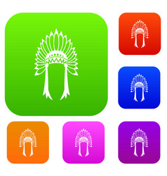 indian headdress set collection vector image vector image