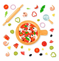 Pizza set cartoon composition vector