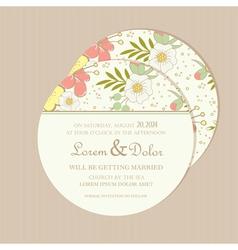 Round wedding invitation card vector