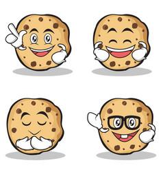 set of sweet cookies character cartoon vector image