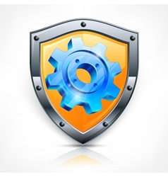 Shield with gear on white vector image vector image