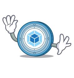 waving webpack coin character cartoon vector image