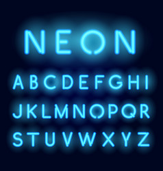 neon alphabet realistic glowing letters vector image vector image