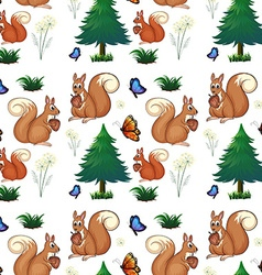Squirrels and pine trees vector image
