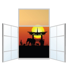 window with elephani in the background vector image
