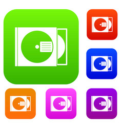cd box with disc set color collection vector image