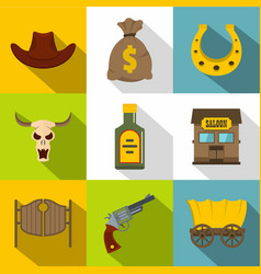 cowboy equipment icons set flat style vector image vector image
