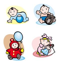 Cartoon girls and boys vector image