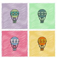 circus watercolor hot air balloon collection in vector image vector image