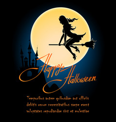 happy halloween poster with witch on a broom vector image vector image
