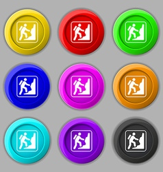 rock climbing icon sign symbol on nine round vector image