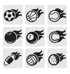 sports balls on fire vector image vector image