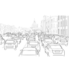 Traffic jam of cars vector image vector image