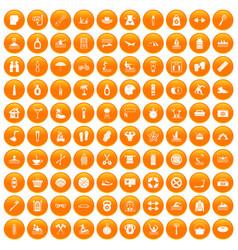 100 human health icons set orange vector