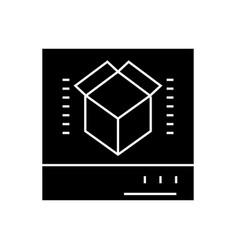 3d scanner black concept icon 3d scanner vector image