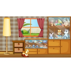 A cabinet full of toys vector
